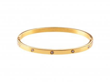 Ocelový náramek bangle DOTS Thin zlatý s krystalky
