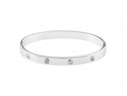 Ocelový náramek bangle DOTS Wide stříbrný s krystalky