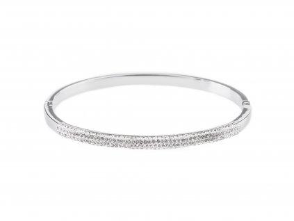 Ocelový náramek bangle GLITTER stříbrný s krystalky