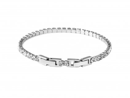 "Ocelový náramek ""Tennis bracelet"" s krystalky 0,3 cm stříbrný"