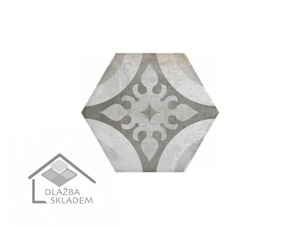Deceram Madelaine Antracite Decor 17,5x17,5 Mix