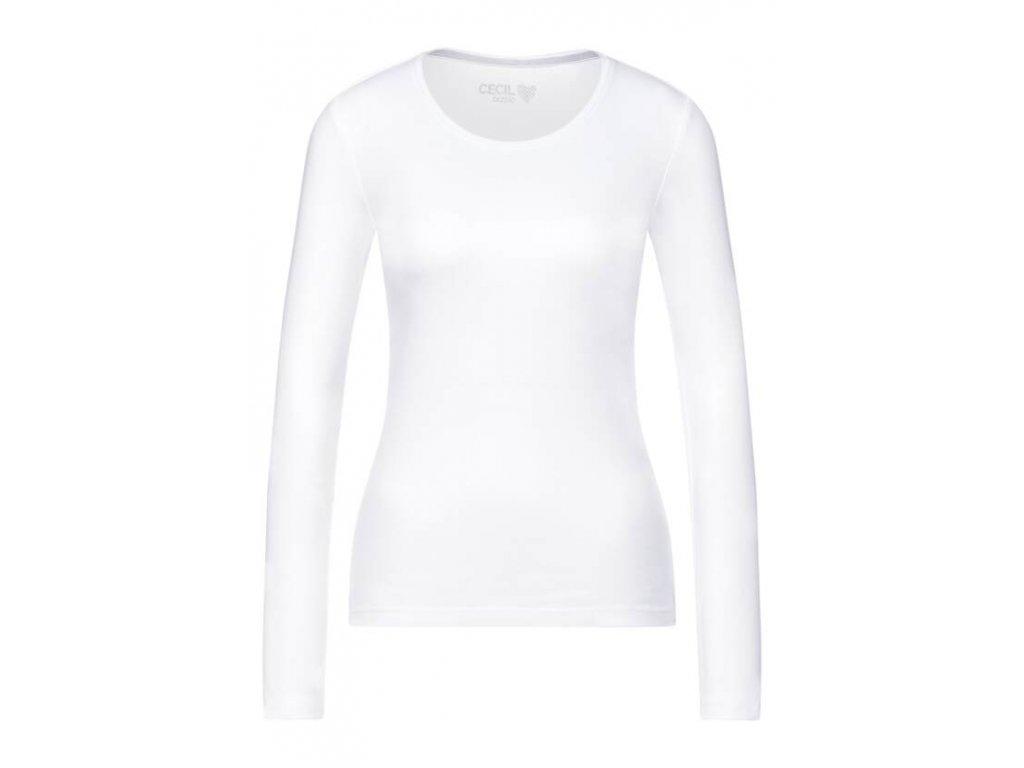 Cecil bílé triko dlouhý rukáv Pia 316936