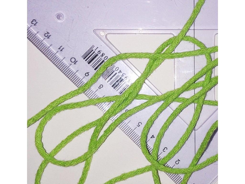 šňůra bavlněná světlá zelená 3 mm