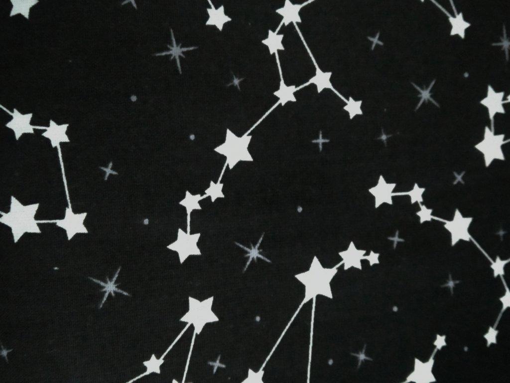 Plátno bavlněné hvězdná obloha na černém podkladu