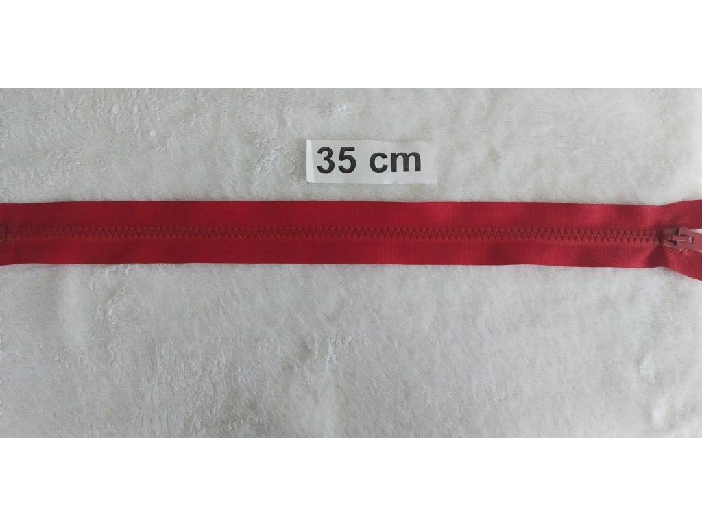 zip kostěný červený plastový 35cm