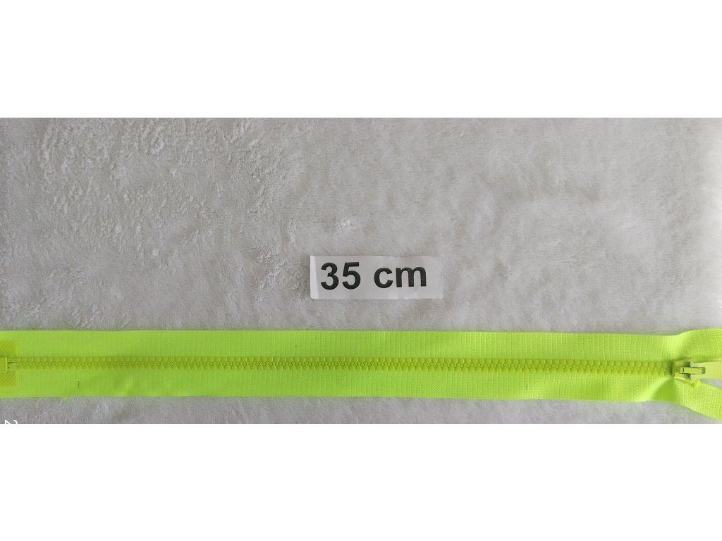 zip kostěný neon žlutý plastový 35cm