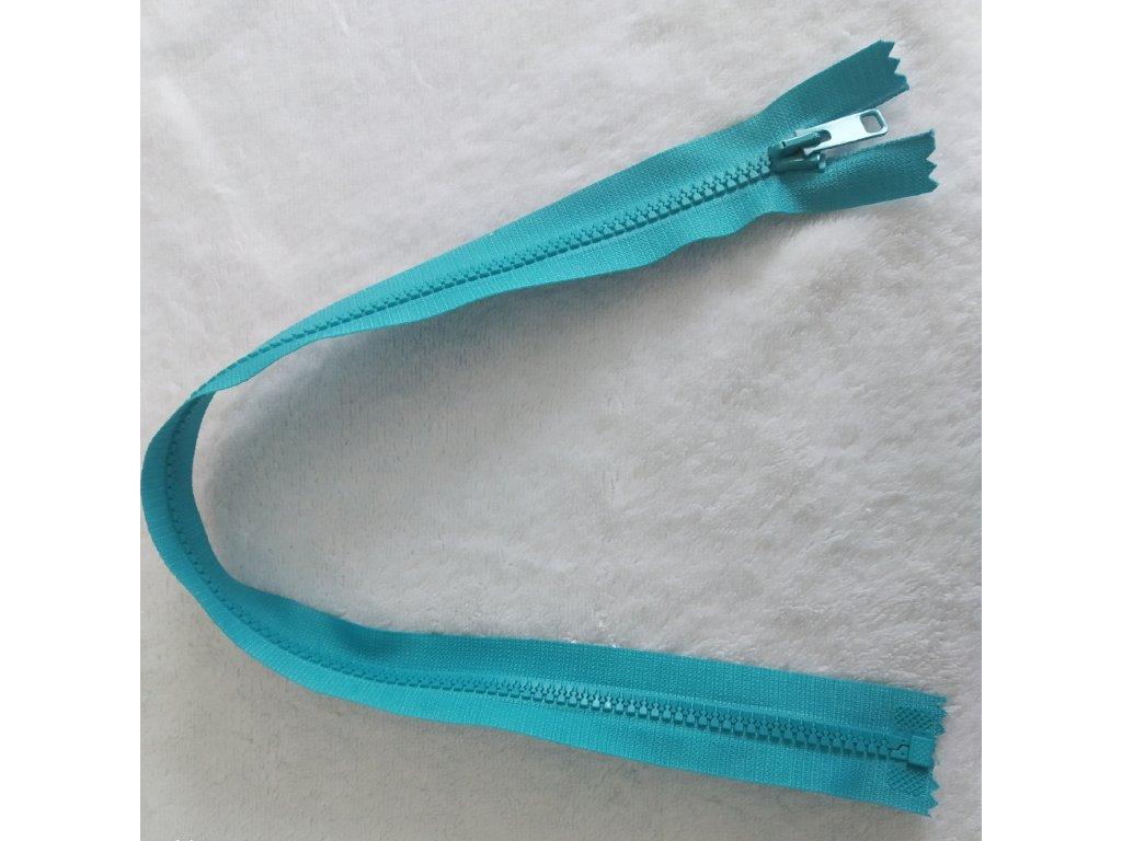 zip kostěný tyrkys plastový 45cm