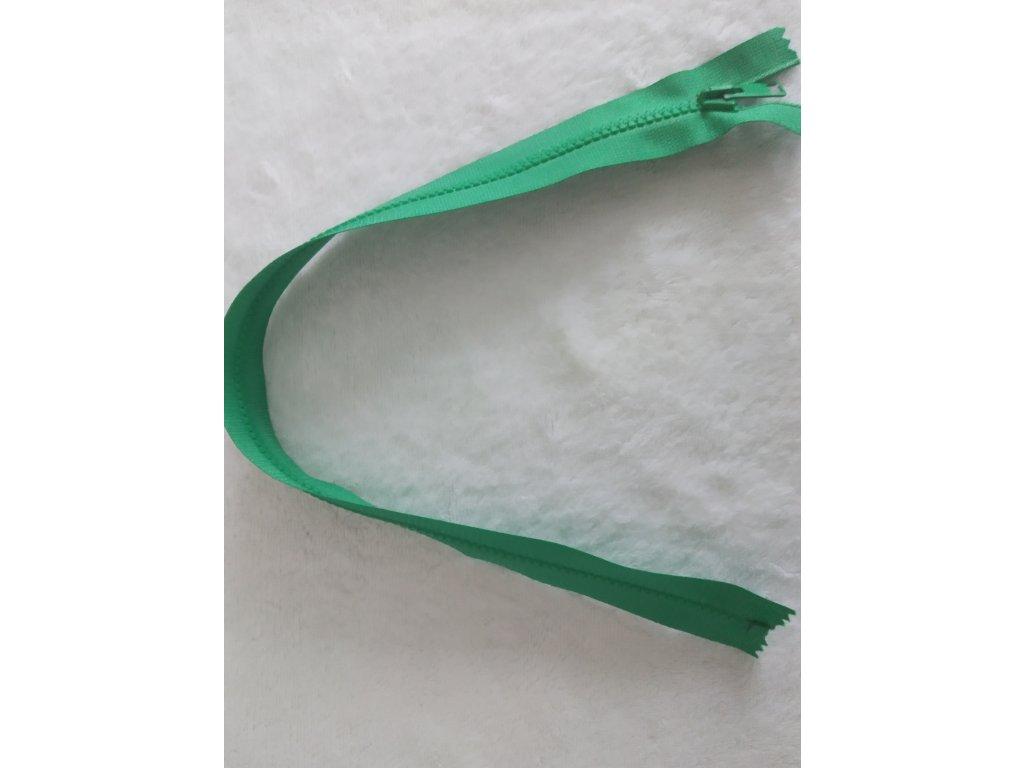 zip kostěný tmavě zelený plastový 45cm