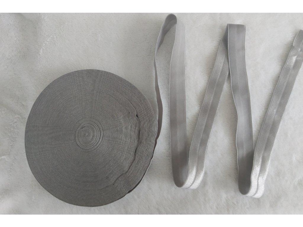 Lesklá lemovací pruženka 19 mm světle šedá