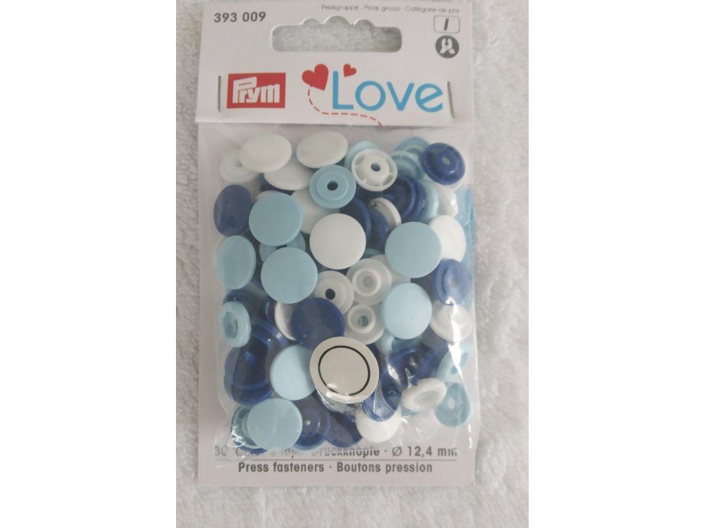 Patentky Colour Snaps mix bílá, světlá a tmavá modrá