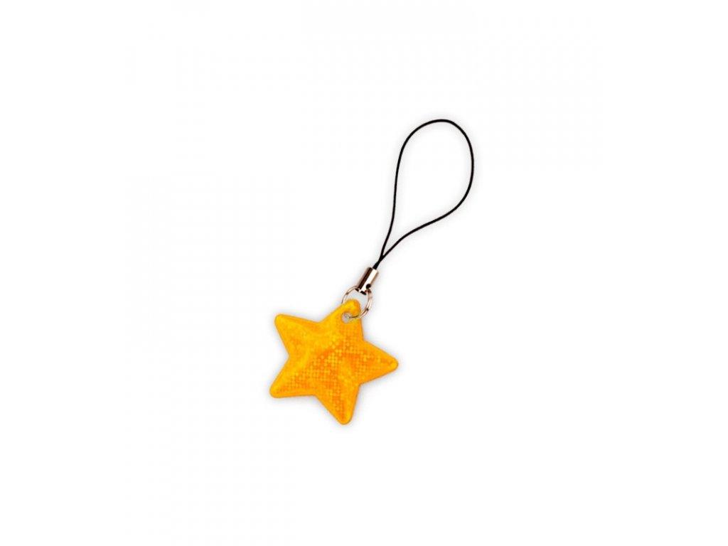 reflexni tahacek zipu hvezda oranž
