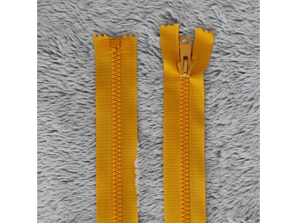 zip kostěný plastový hořčicový 60 cm