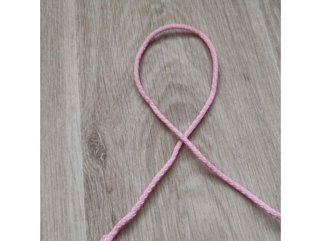 šňůra oděvní 4 mm baby růžová 5 m