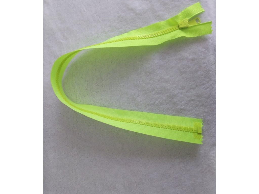 zip kostěný neonově žlutý plastový 50 cm