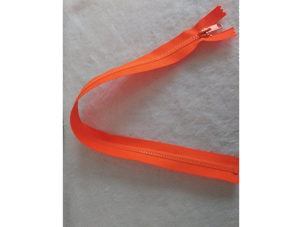 zip kostěný neonově oranžový plastový 50 cm