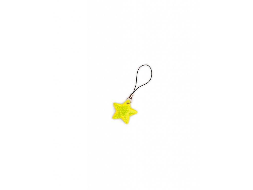 reflexni tahacek zipu hvezda neon žlutá