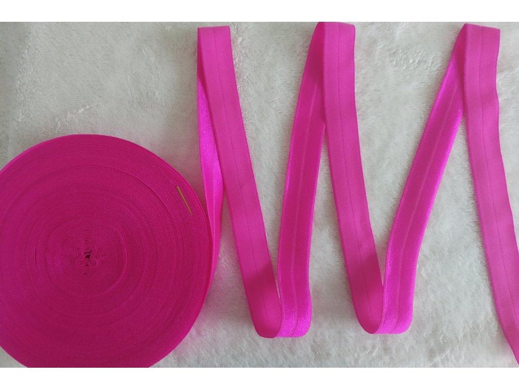 Lesklá lemovací pruženka 19 mm jasná růžová