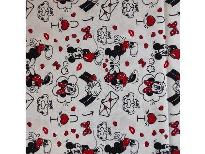 Plátno bavlněné Disney Mickey a Minnie licenční