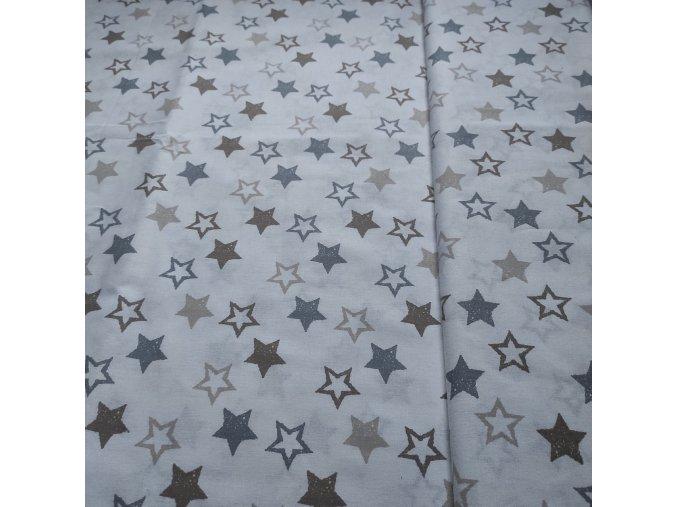 Plátno bavlněné šedobéžové hvězdy na bílém podkladu