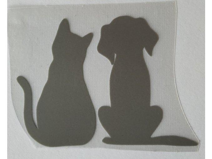 Reflexní nažehlovačka pes a kočka výprodej