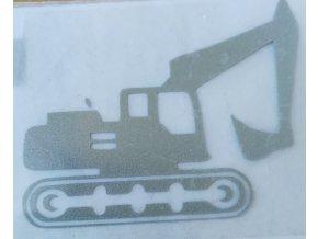 Reflexní nažehlovačka bagr 4,7 x 4 cm