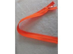 zip kostěný neonově oranžový plastový 45cm