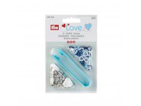 Prym Boite 21 Boutons Pression Jersey Prym Love Coloris Bleu Clair Bleu et Blanc avec Outil de Pose 8 mm 3