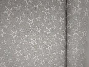 Teplákovina bílé hvězdy na šedém melíru