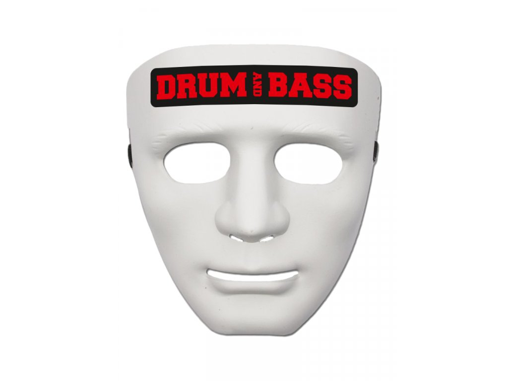 Maska DRUM AND BASS RED bílá