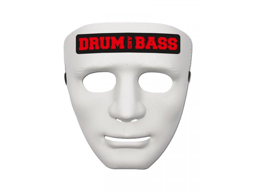 Maska DRUM AND BASS RED bílá
