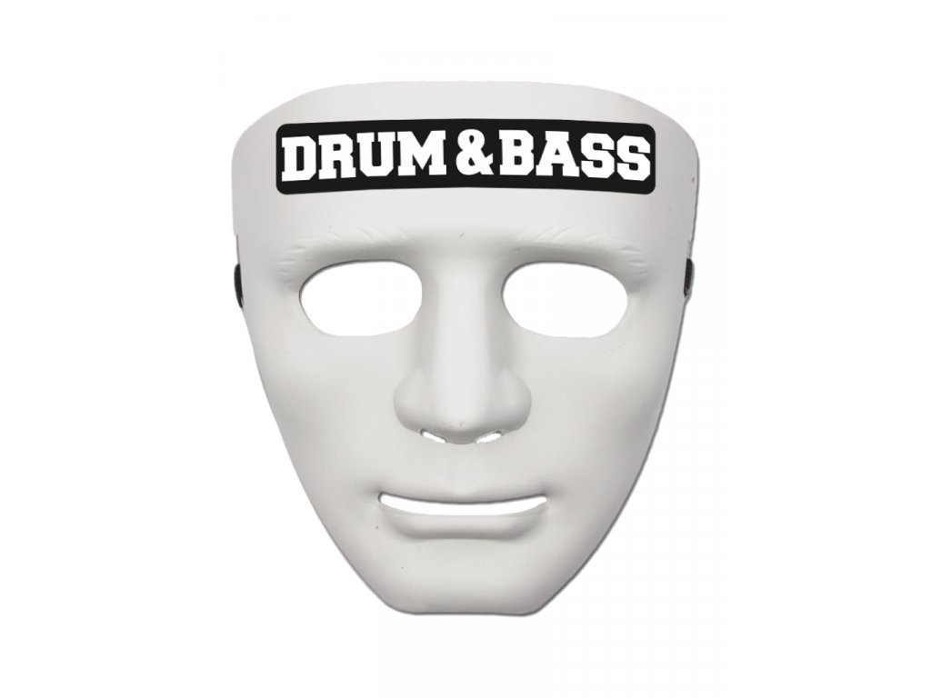 Maska DRUM & BASS BLACK bílá