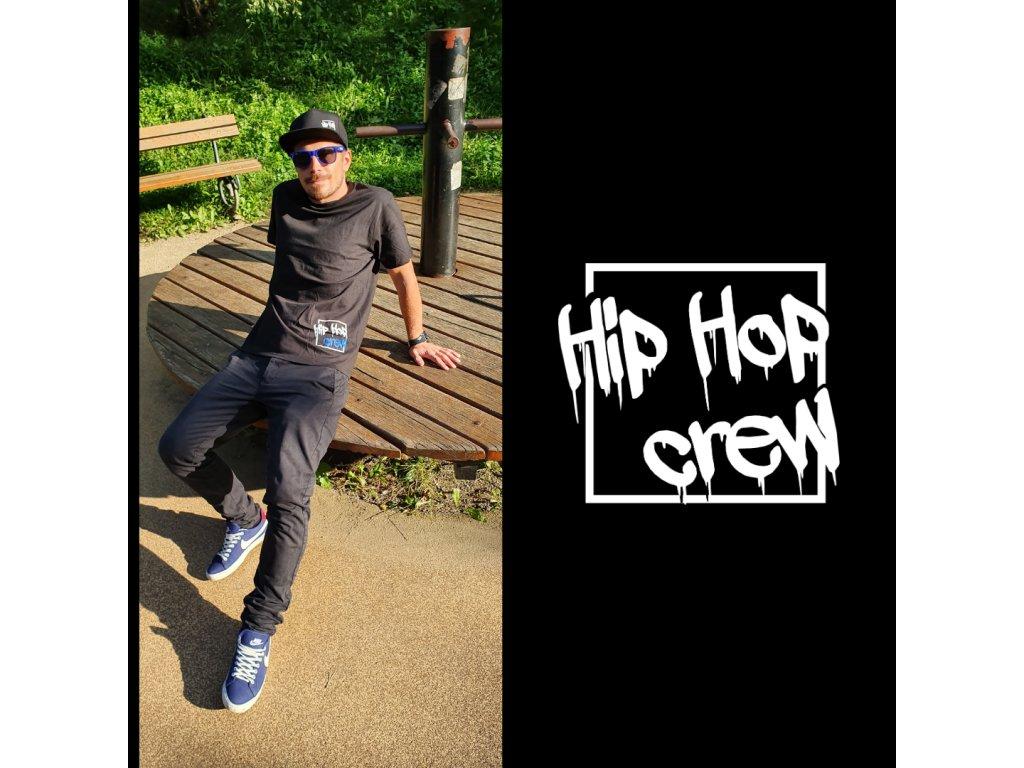 Unisex černé tričko Hip Hop Crew blue