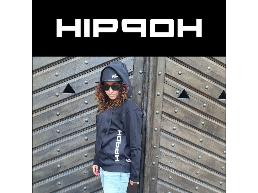 Unisex mikina s kapucí Hip Hop Words černá