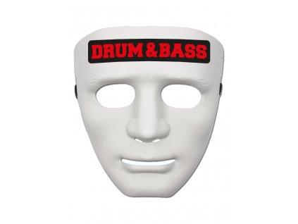 Maska DRUM & BASS RED bílá