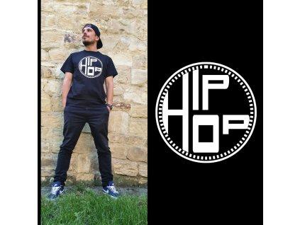 Unisex černé tričko Hip Hop Round