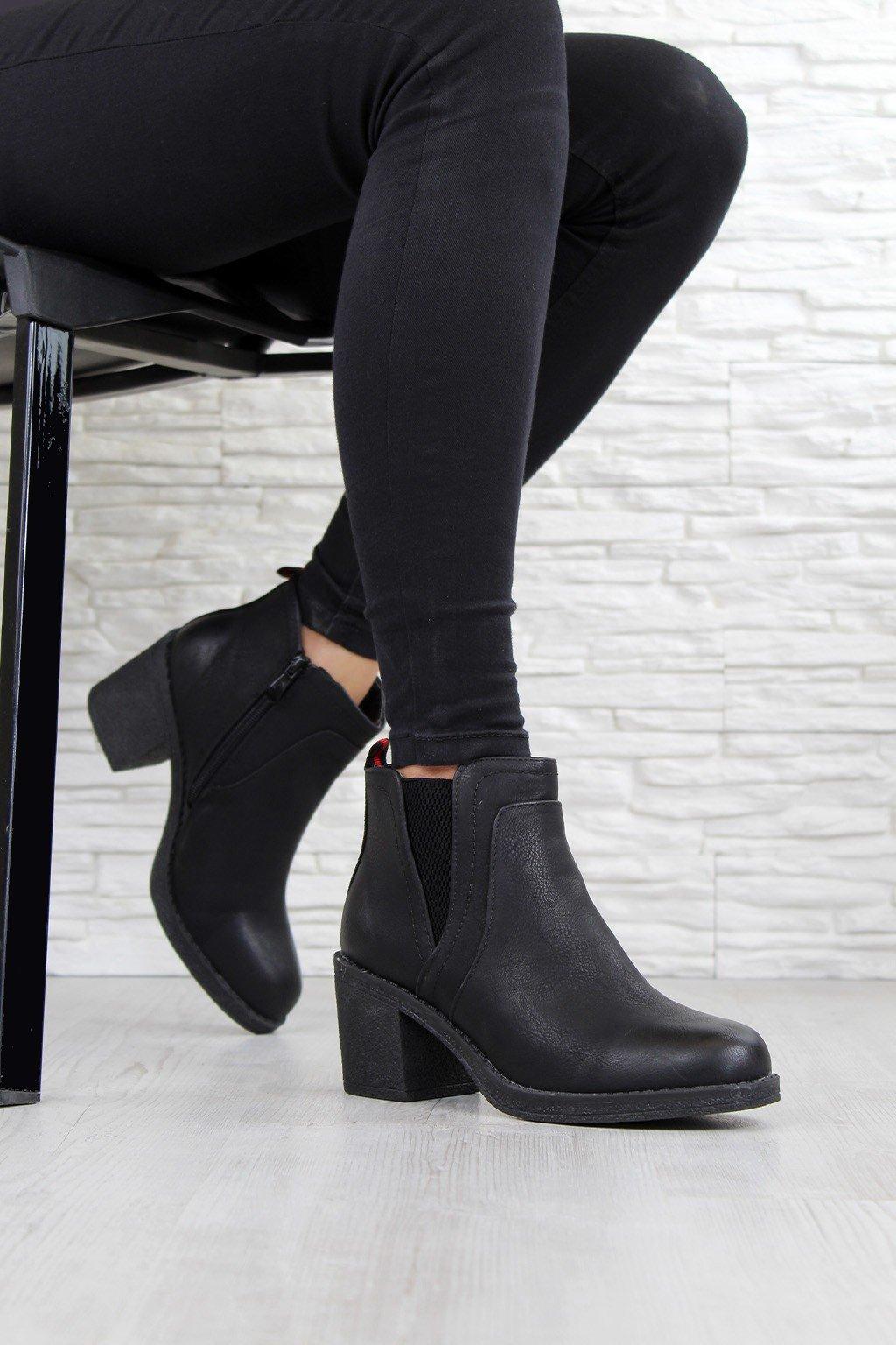 Kotníkové boty na hrubém podpatku OM5310 1B (1)