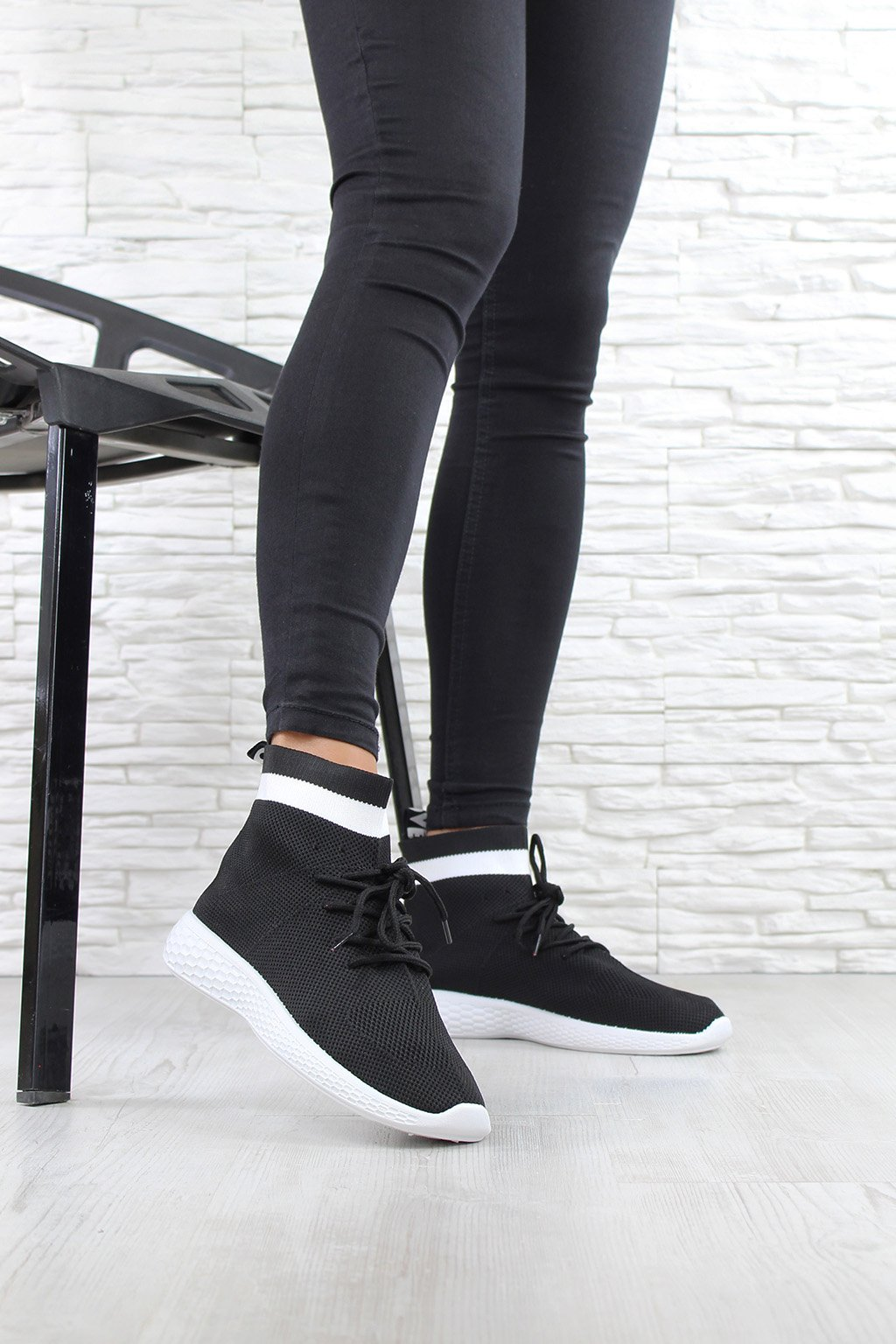 Černé ponožkové tenisky SJ1876 1B (4)