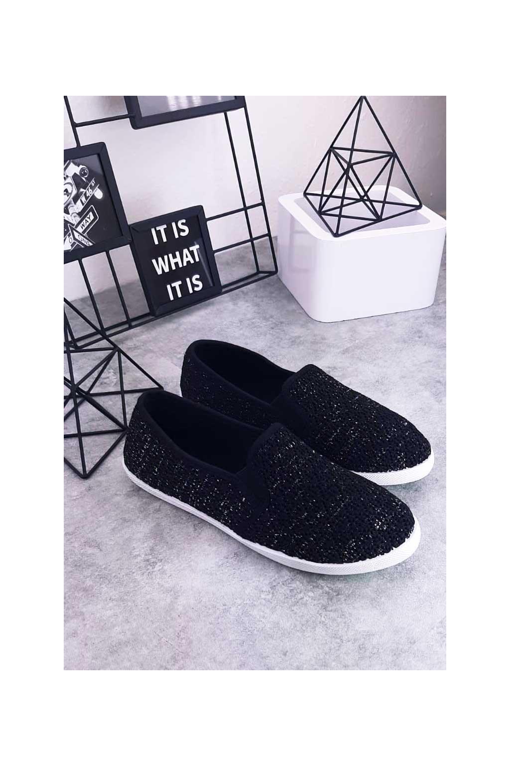 81026-1 BLACK - Slip on tenisky