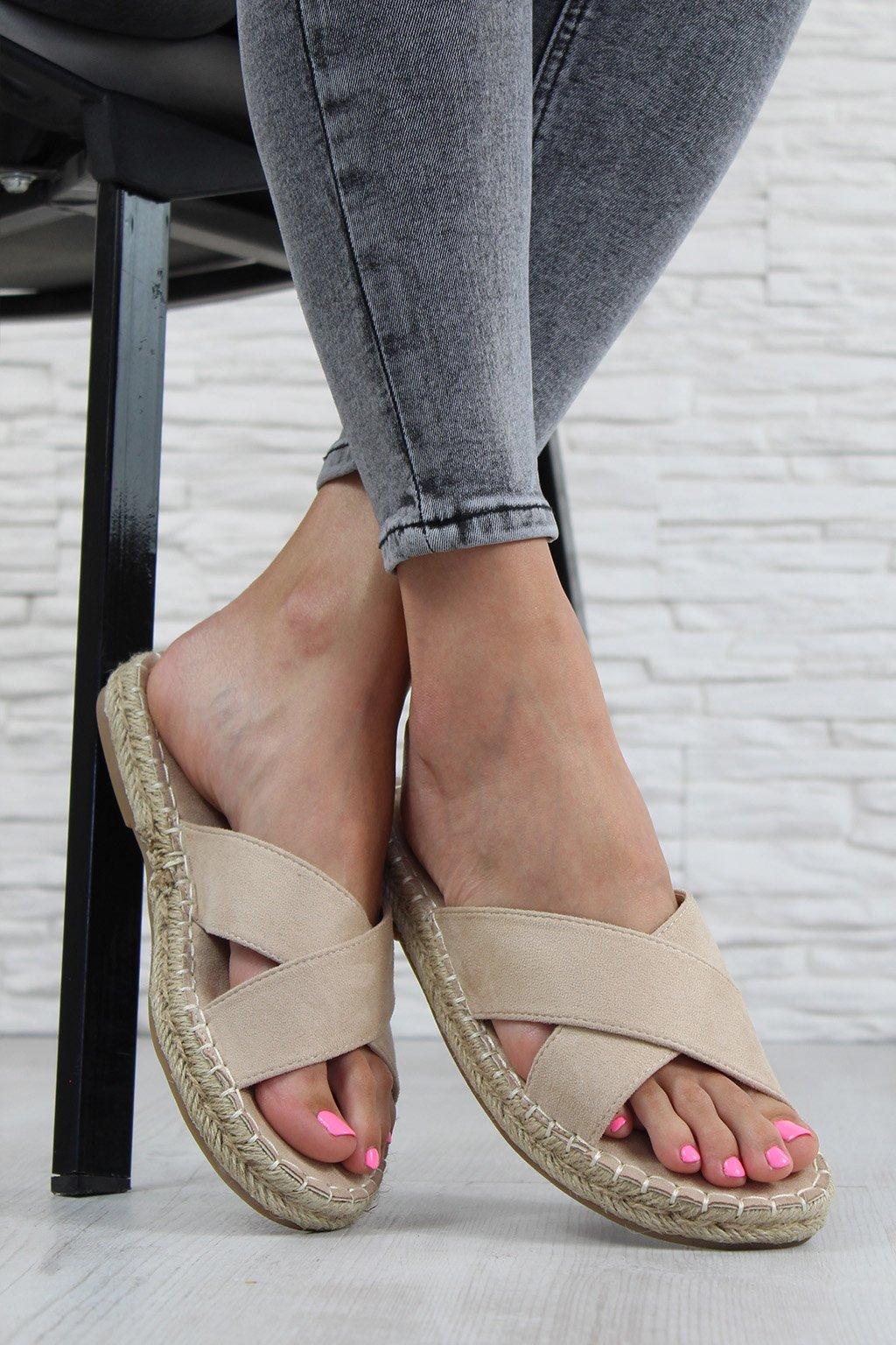708 2BE Béžové pantofle (2)