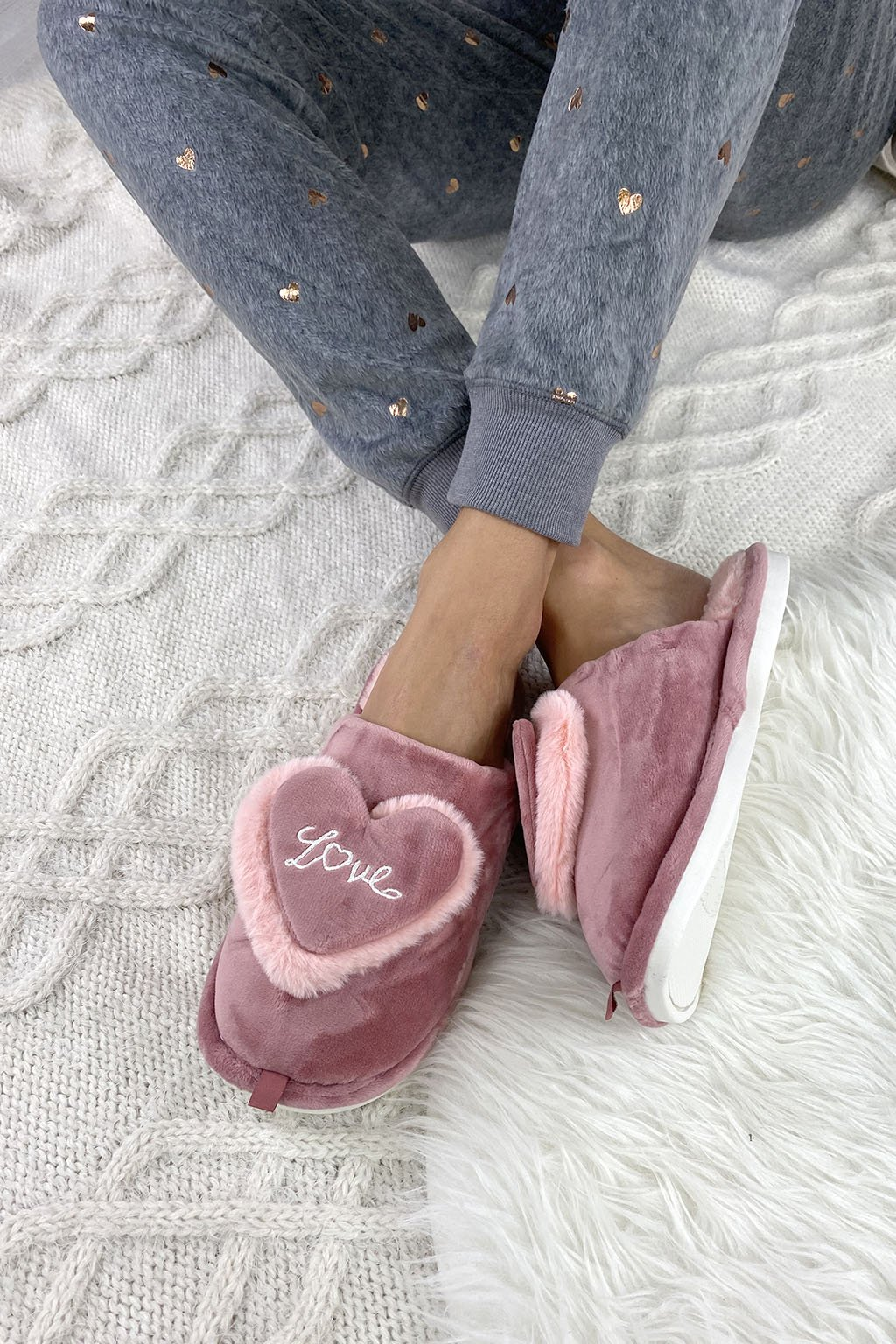 Domaci papuce LOVE pink