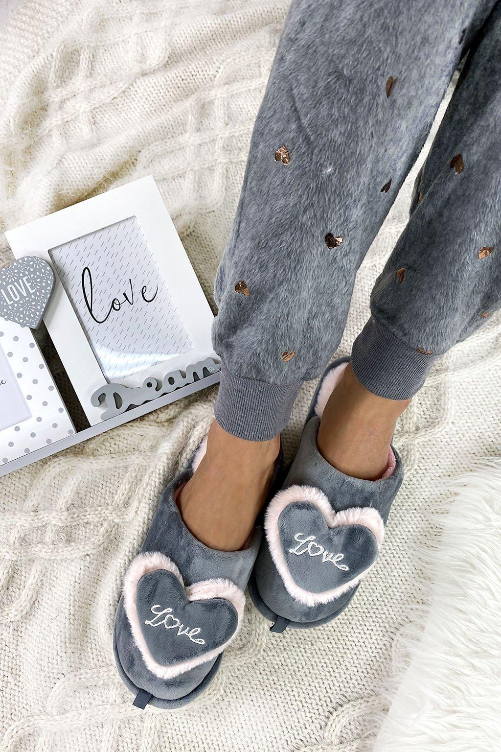 Domaci papuce LOVE gray