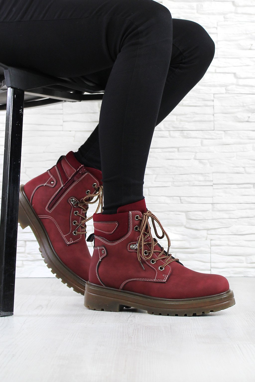 Červené boty farmářky D002R (3)