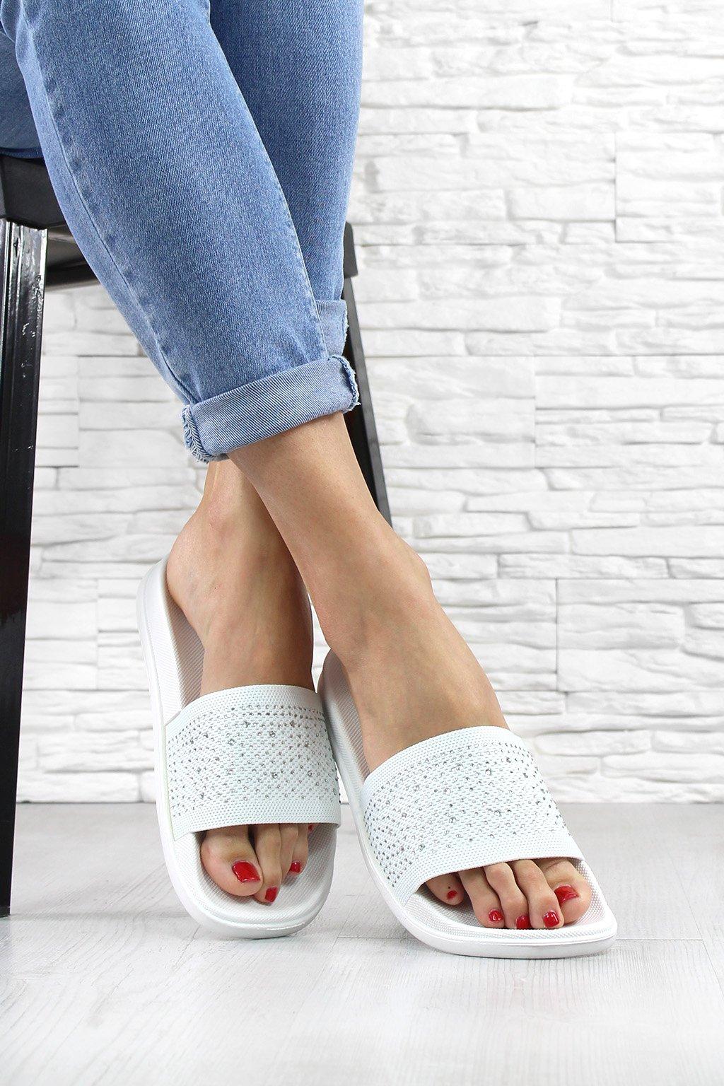 Pantofle s kamínky 5021WH (1)