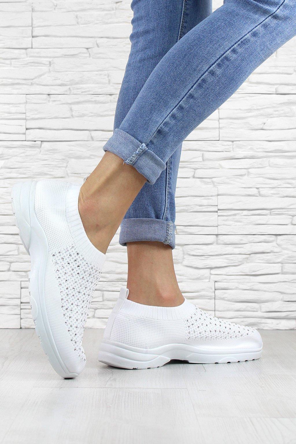 Bílé ponožkové tenisky BA43 41WH (1)