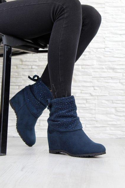 Modré boty na klínku MD7202A 6BL (3)