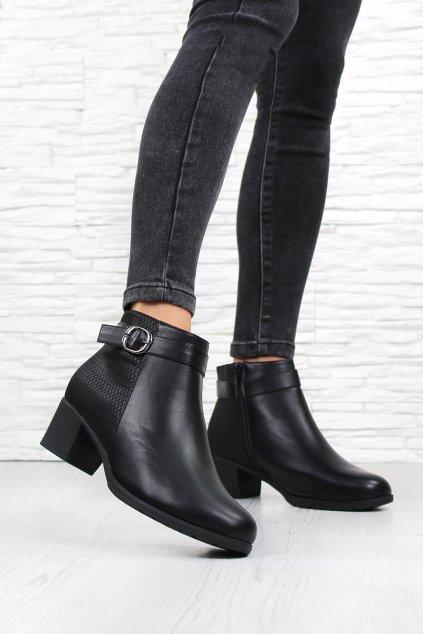 Černé kotníkové boty na podpatku HL61558B (3)