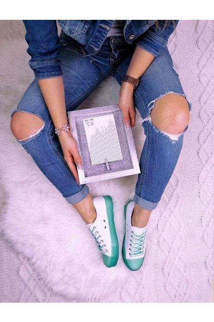J06 2 GREEN Bílé tenisky