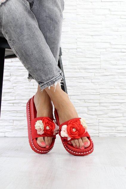 Červené pantofle 7 S155C (2)