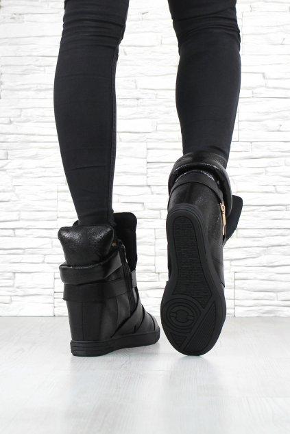 2114 BLACK Kotníkové boty na klínku (3)