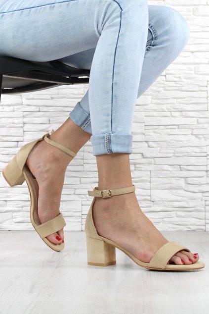 Béžové sandálky na podpatku 1557 14BE (1)